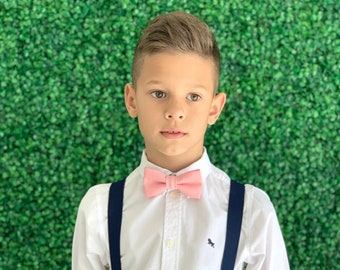 Suspenders Set 8months- ADULT Baby Boys Kids Children Mens Navy Blue Suspenders & ROSE Pink bow tie bowtie Wedding Page Boy Groom  SET