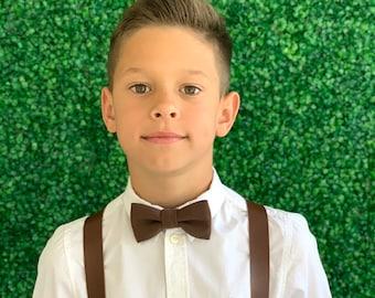 Suspenders SET 8 mon - Adult  Kids Mens Baby Boys Wide Dark Brown PU Leather Suspenders & Brown LINEN  bow tie Wedding Page Boy Groom