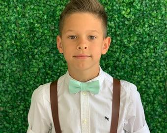 Suspenders SET 6 mon- Adult Kids Mens Baby Boys Wide Dark Brown PU Leather Suspenders & MINT bow tie Wedding Page Boy Groom Set