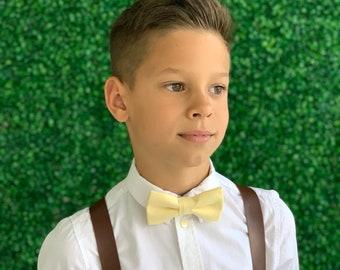 Suspenders Set 6 mo - Adult Kids Mens Baby Boys Wide Dark Brown PU Leather Suspenders & PALE Yellow bow tie Page Boy Groom  SET