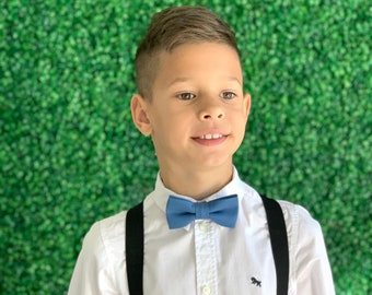 Suspenders SET 8months- Adult Kids Baby Boys Mens Black Suspenders & Dark Steel Blue bow tie Groom Page Boy Wedding SET