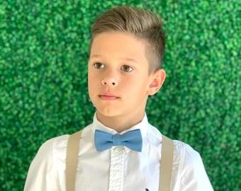 Suspenders SET 6 months- Adult  Kids Mens Baby Boys Tan Khaki Suspenders & Steel Blue bow tie Wedding Groom Page Boy SET