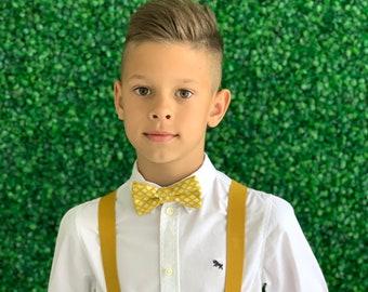 Suspenders SET 8months- Adult Kids Mens Baby Boys Mustard Yellow Y-Back Suspenders & Mustard Ornament bow tie Wedding Groom Page Boy SET