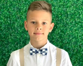 SET Suspenders 8months- ADULT Kids Children Baby Boys Light Tan Khaki  Suspenders & Plaid Navy Blue Bow Tie Wedding Page Boy Groom