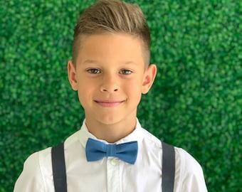 Suspenders SET 6 months- Adult  Kids Mens Baby Boys Charcoal Gray Suspenders & DARK Steel Blue bow tie Wedding Groom Page Boy SET