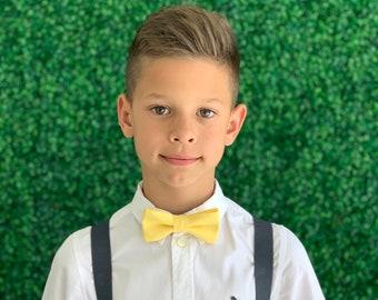 Suspenders Set 6months- ADULT Kids Children Baby Boys Charcoal Gray Suspenders & Light Yellow bow tie Wedding Page Boy Groom SET