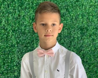 Suspender SET 8months- Adult  Mens Kids Baby Boys PASTEL Light Gray Suspenders & Petal Pastel Pink  bow tie Wedding Page Boy Groom SET