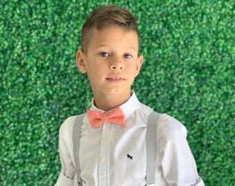 SET Suspenders 8mon - Adult  Kids Children Baby Boys Light PASTEL Gray Suspenders & Salmon Coral bow tie Wedding Page Boy Groom SET