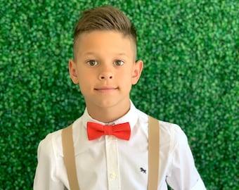 Suspenders Set 6 months Adult  Kids Mens Baby Boys Tan Khaki Suspenders /& Royal Blue bow tie Wedding Groom Page Boy SET