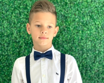 Suspenders SET 6 months- Adult Kids Children Mens Toddler Baby Boys NAVY Blue Suspenders & Navy Blue bow tie Wedding Page Boy SET
