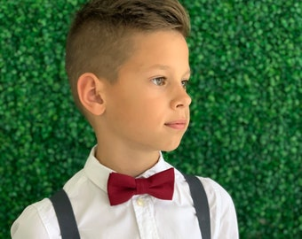 Suspenders SET 8 months- Adult Kids Boys Mens Baby Dark Charcoal Gray Y-Back Suspenders &  Burgundy Red Wine Red Double Layered bow tie SET