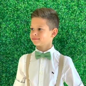 Suspenders Set 6 mon Adult  Kids Children Baby Boys Tan Khaki Suspenders /& PALE Sage Green bow tie Wedding Page Boy Groom SET