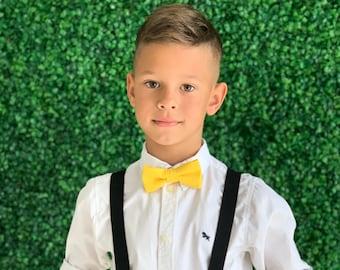 Suspenders SET 8months- ADULT Mens Kids Baby Boys Black Suspenders & Yellow  bow tie Wedding Page Boy Groom Set