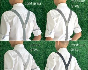 Suspenders  6 months - ADULT  Gray Adjustable  Y-Back SUSPENDERS Baby Boys Kids Children Teen Adult Groom Page Boy Wedding Suspenders