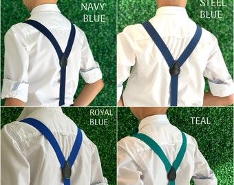 Adjustable Y- Back Suspenders / 6 months -  ADULT Baby Boys Kids Children Mens Groom Page Boy Wedding / Royal Blue  Dark Steel Blue Navy
