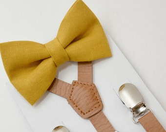 8mon- Adult Kids Mens Baby Boys 1/2 inch Brown PU Leather Suspenders & Mustard Yellow Linen bow tie Wedding Groom Page Boy SET