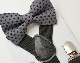 Suspenders SET 8 months- Adult  Kids Mens Baby Boys Black Suspenders &  Gray Polka Dot  bow tie Wedding Page Boy Groom  SET