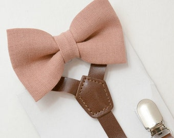 Suspenders SET 8mon- Adult Kids Mens Baby Boys 1/2 inch Dark Brown PU Leather Suspenders & Dark Mauve Dusty Pink bow tie Linen Wedding SET
