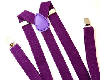 Purple Violet Wine Mauve Plum Y-Style Trouser Braces Plain Mens Suspenders