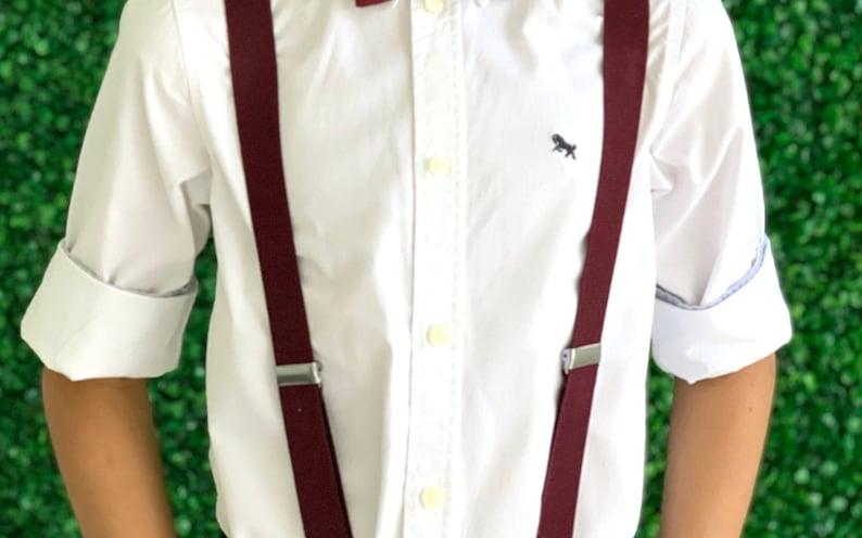 Adult Mens Baby Boys Kids Children Teen Suspenders DARK Burgundy Wine Adjustable Suspenders Y-Back Groom Page Boy Wedding  6 months