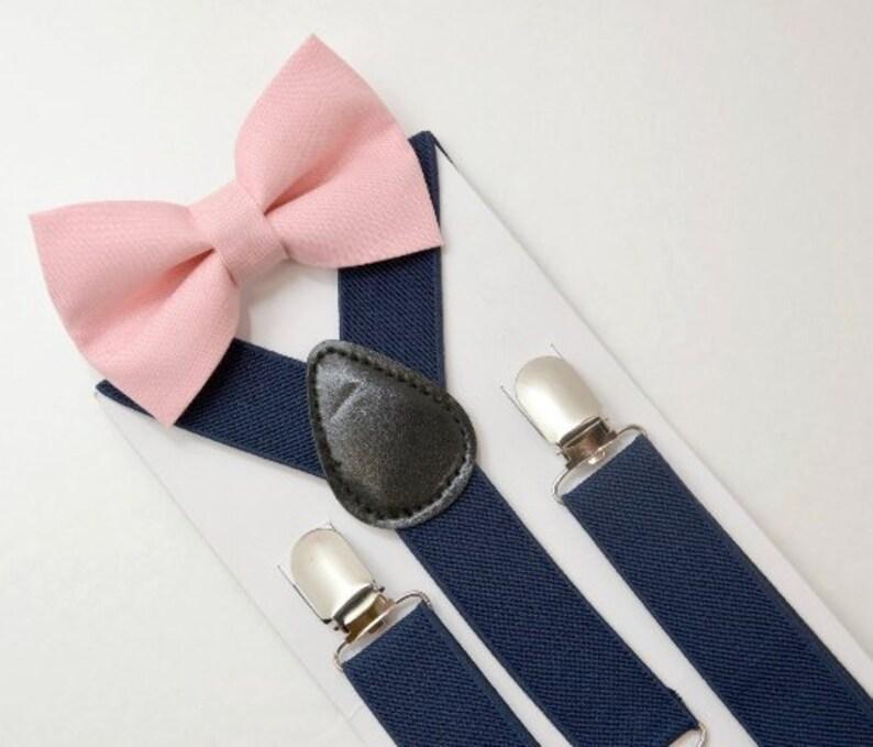 Kids Boys Mens Navy Blue Suspenders /& Dark Wine Bow tie Infant ADULT SET
