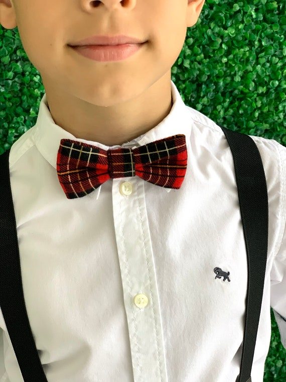 Choose Men/'s or Boys New Red Green Plaid With Tinsel Clip-On Cotton Bow Tie