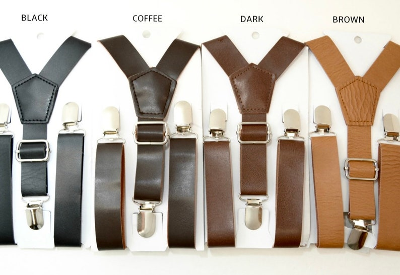 Coffee Rustic Brown Suspenders / Dark Brown / Black 1 inch image 0