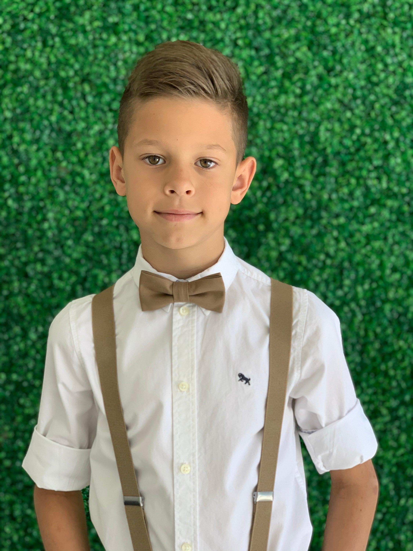 Adult Kids Mens Baby Boys Tan Khaki Y-Back Suspenders /& Burnt Orange bow tie Wedding Groom Page Boy SET Suspenders SET 8mon
