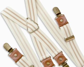 Suspenders Infant - ADULT Mens  Baby Boys Kids Children Teen Ivory Tan Khaki Beige Striped Suspenders Adjustable Suspenders Groom Page Boy