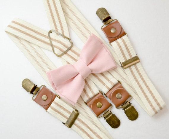 Kids Boys Mens Baby Tan Khaki Suspenders /& Peach Bow Tie Infant ADULT SET