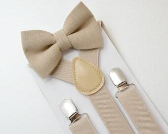 Suspenders SET 8months- ADULT Kids Baby Boys Light Tan Khaki Suspenders & Rustic Cottage Chic Linen Bow Tie Vintage Style Wedding SET