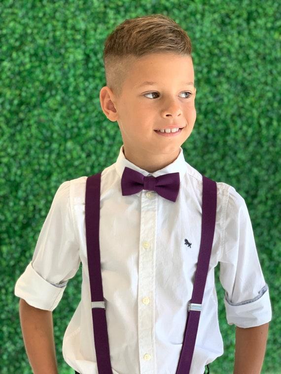 PZLE Boys Mens Suspenders and Bow Tie Set Adjustable