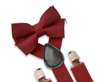 Suspenders SET / Infant  - ADULT Kids Children Baby Boys Burgundy Red Suspenders & Wine Red Burgundy Red bow tie Wedding Page Boy Groom