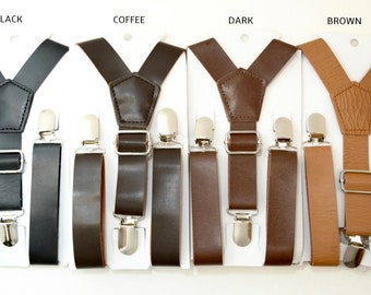 Wedding Vintage / Coffee Rustic Brown / Dark Brown / Black / Rust Brown Wide PU Leather Suspenders Y-Back Kids Boys Mens Groom 8mon - ADULT