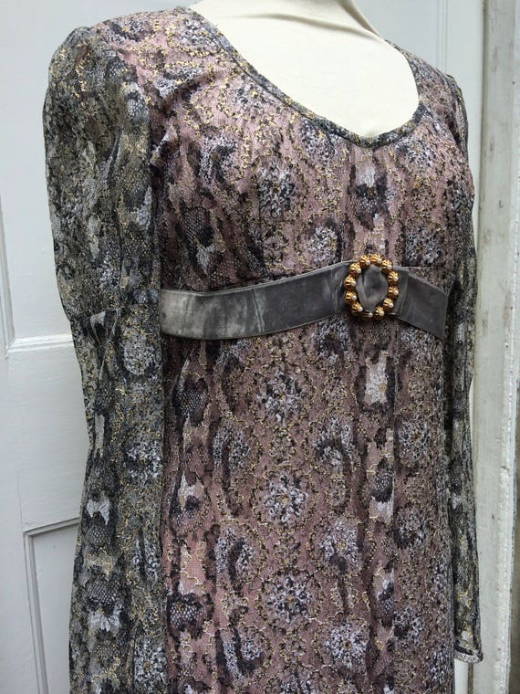 Late 60s Lurex lacey snake print Maxi dress Dollyr