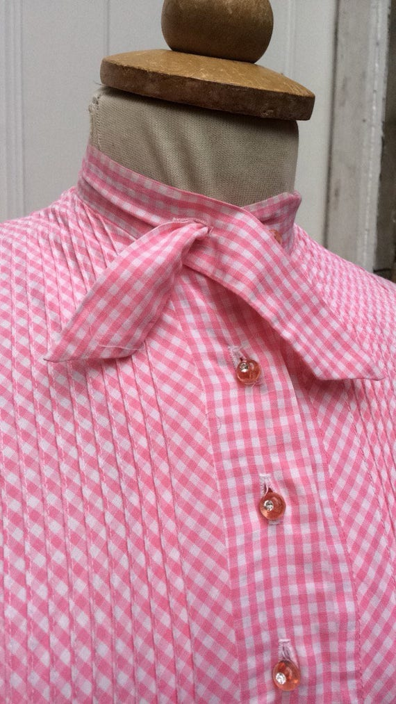 Pretty pink 50s gingham dress - image 5