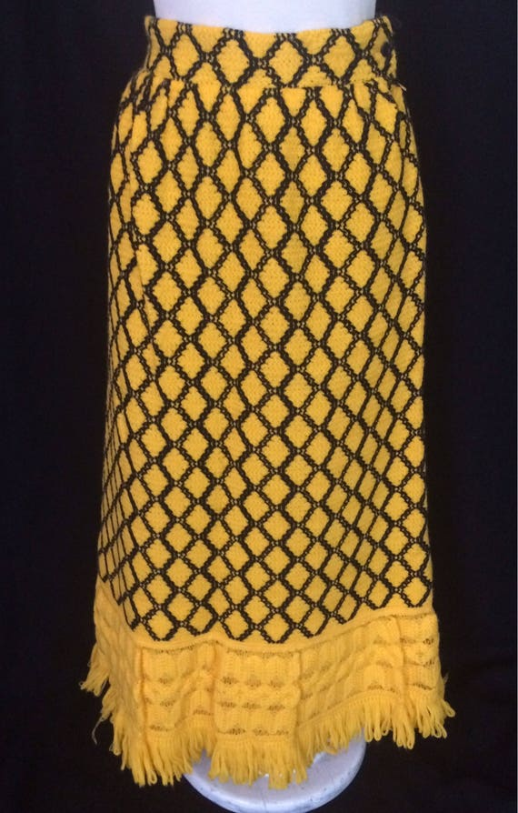 1970s Vintage  Lanvin maxi skirt Bright Yellow and