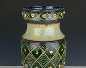 Green ceramic vase, geometric pottery vase, flower vase, amphora vase, sgraffito vase, pottery centerpiece, carved pottery vase, gold vase