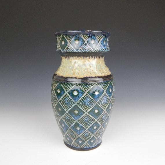 Grüne Keramik-Vase geometrische Keramikvase Blumenvase | Etsy
