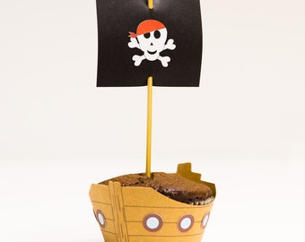 Pirate Cupcake Wrappers and Toppers Set of 12