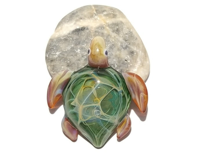 Miniture Water Fern Turtle Pendant - Glass Pendant -Glass Jewelry - Glass Art - Turtle -Blown Glass - Artist Signed - Details of Pure Silver