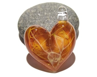 Tangerine Golden Heart Pendant - Love - Anniversary Gift for Her - Handmade Glass Jewelry - Gold Fume - Follow Your Heart - Charm Necklace