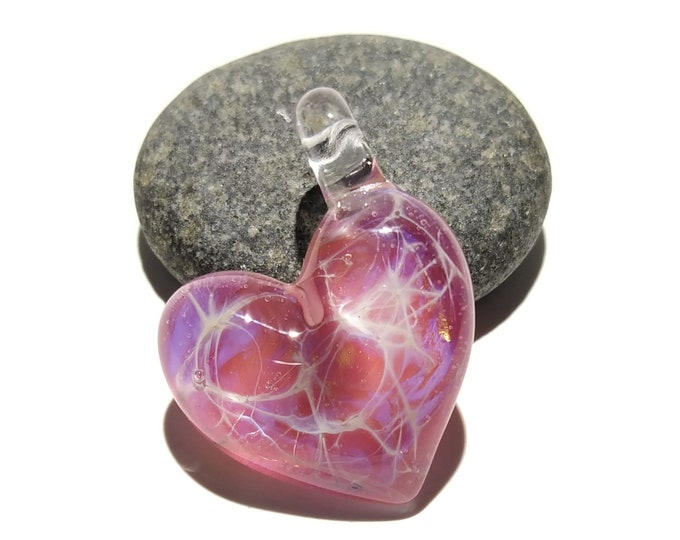 Vibrant Rose Pink Heart Pendant - Love - Anniversary Gift for Her - Handmade Glass Jewelry - Gold Fume - Follow Your Heart - Charm Necklace