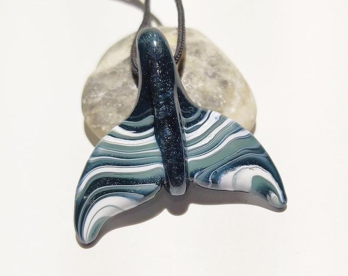 NEW! Glass Whale Tale Pendant - Aquatic Sparkle - Sea Glass - Unique - Glass Pendant - Blown Glass Necklace - Handmade Jewelry - Ocean Life