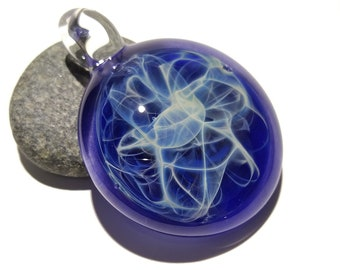 Blue Web Pendant - Glass Pendant - Glass Art - Unique Bead - Blown Glass Jewelry - Boro Pendant - Universe Filament - Ocean Blue