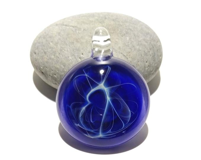 Blue Amethyst Web Pendant - Glass Pendant - Glass Art - Unique Bead - Blown Glass Jewelry - Glass Necklace - Boro Pendant -Universe Filament