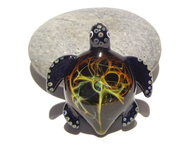 Blown Glass Turtle - Earthy Turtle Pendant - Glass Art - Sea Turtle - Handmade - Unique Jewelry - Cute - Turtle Necklace - Great Gift Ideas
