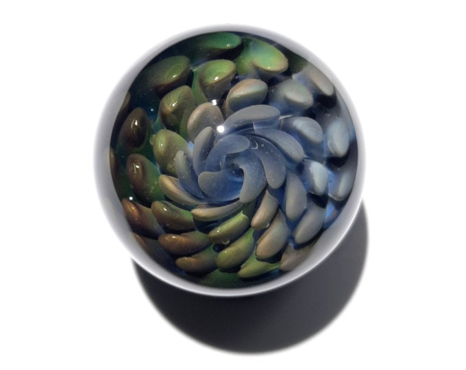Hand Blown Glass Marble - Unique Glass Art - Glass Sphere - Glass Orb - Miniture Collectable - Borosilicate - Gold Silver Fumed Implosion