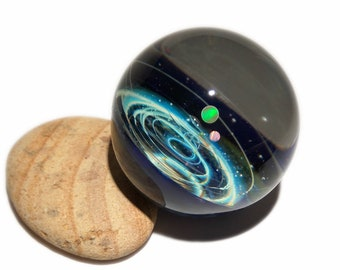 Large Size Galaxy Paperweight - Planetarium Gift - Cosmic Art glass - Two Opal Planets - A Galaxy in Glass - Blown Glass Space Marble
