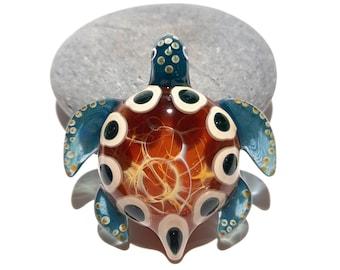 Blown Glass Turtle - Golden Waters Tribal - Pendant - Glass Art - Sea Turtle - Handmade - Unique Jewelry - Cute -Turtle Necklace -Gift Ideas